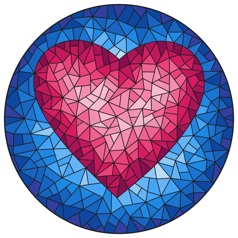 Illustration en verre souillée avec le coeur rose abstrait sur le fond bleu, image ronde illustration de vecteur