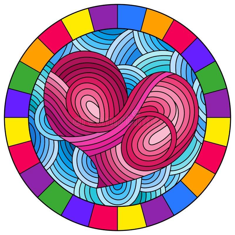 Illustration en verre souillée avec le coeur rose abstrait sur le fond bleu onduleux dans le cadre lumineux, image ronde illustration de vecteur