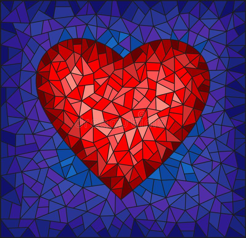 Illustration en verre souillée avec le coeur rouge abstrait sur le fond bleu, image rectangulaire illustration de vecteur