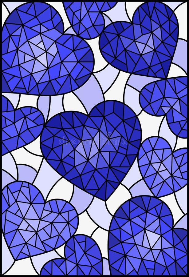 Illustration en verre souillée avec le fond abstrait avec des coeurs, bleu de ton illustration stock