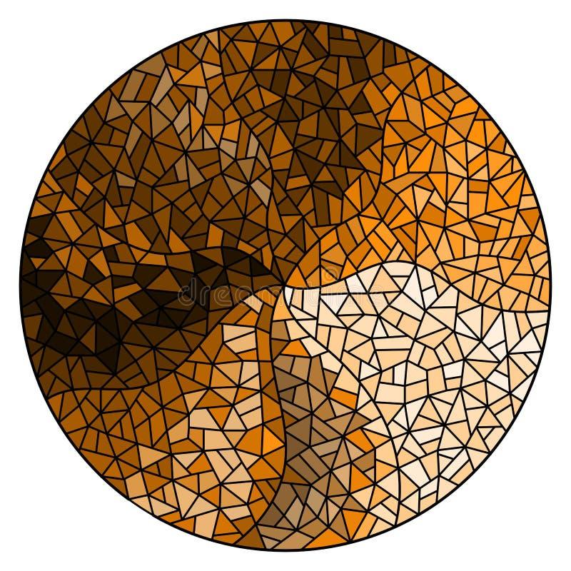 Illustration en verre souillée avec le fond abstrait, monochrome, brun de ton, image ronde illustration de vecteur