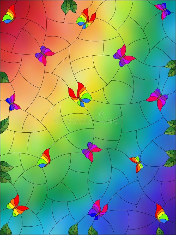 Illustration en verre souillée avec le fond d'image abstrait, les papillons colorés et les feuilles sur le fond brouillé par arc- illustration libre de droits