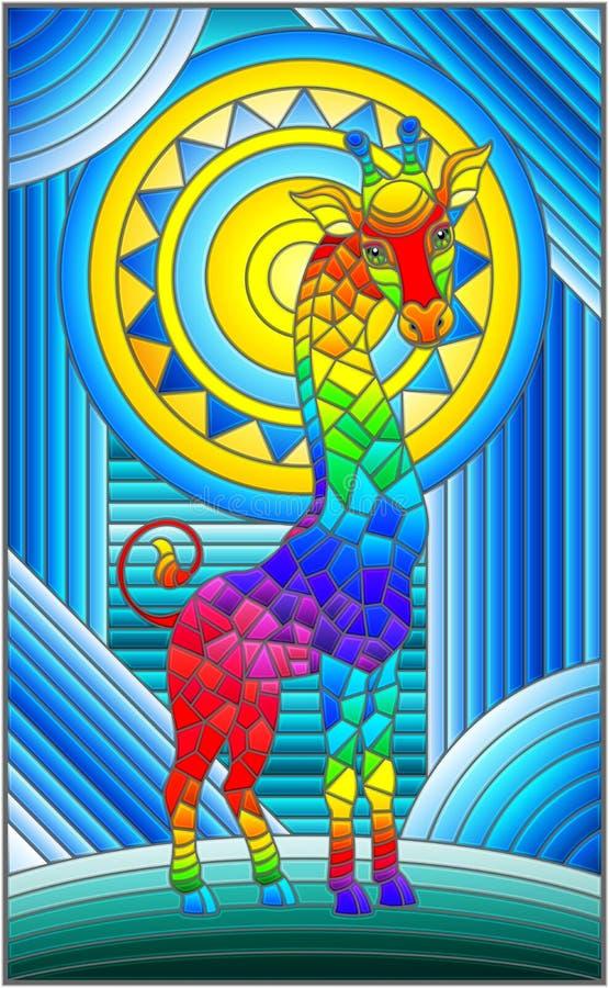 Illustration en verre souillée avec le fond géométrique d'arc-en-ciel d'abrégé sur girafe avec le soleil illustration stock