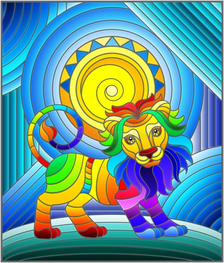 Illustration en verre souillée avec le lion et le soleil drôles d'arc-en-ciel sur le fond abstrait illustration de vecteur