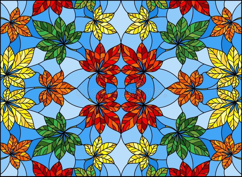 Illustration en verre souillée avec le modèle abstrait de feuille, feuilles colorées sur le fond bleu illustration stock