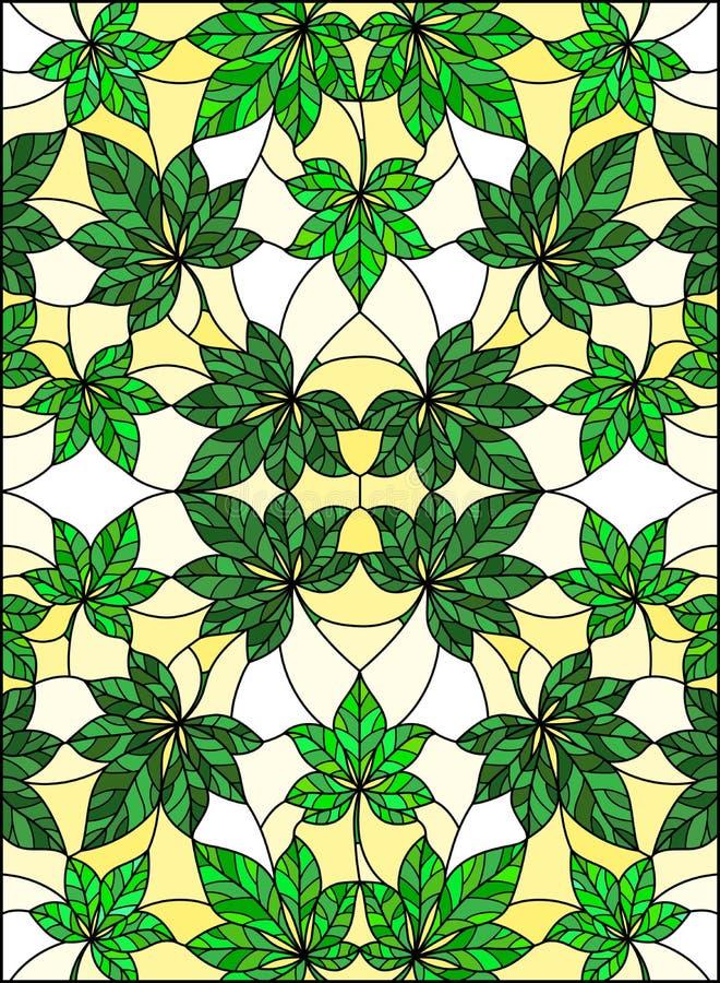 Illustration en verre souillée avec le modèle abstrait de feuille, feuilles vertes sur le fond jaune illustration libre de droits