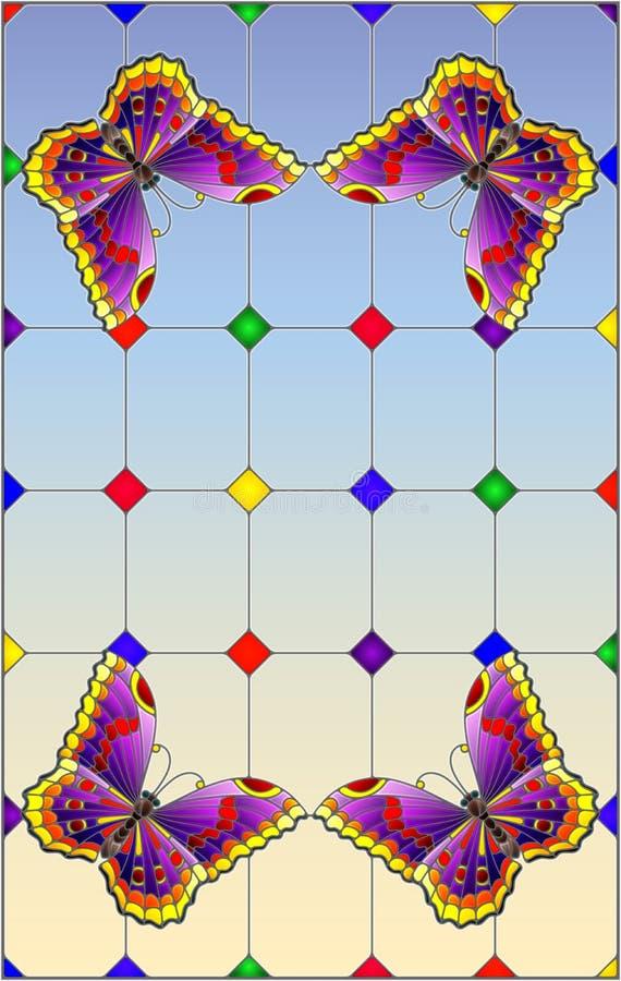 Illustration en verre souillée avec les papillons pourpres lumineux sur un fond segmenté de fenêtre, sur un fond de ciel illustration de vecteur