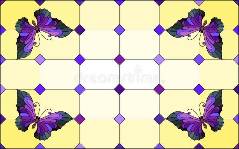 Illustration en verre souillée avec les papillons pourpres lumineux sur un fond segmenté de fenêtre, sur un fond jaune illustration libre de droits