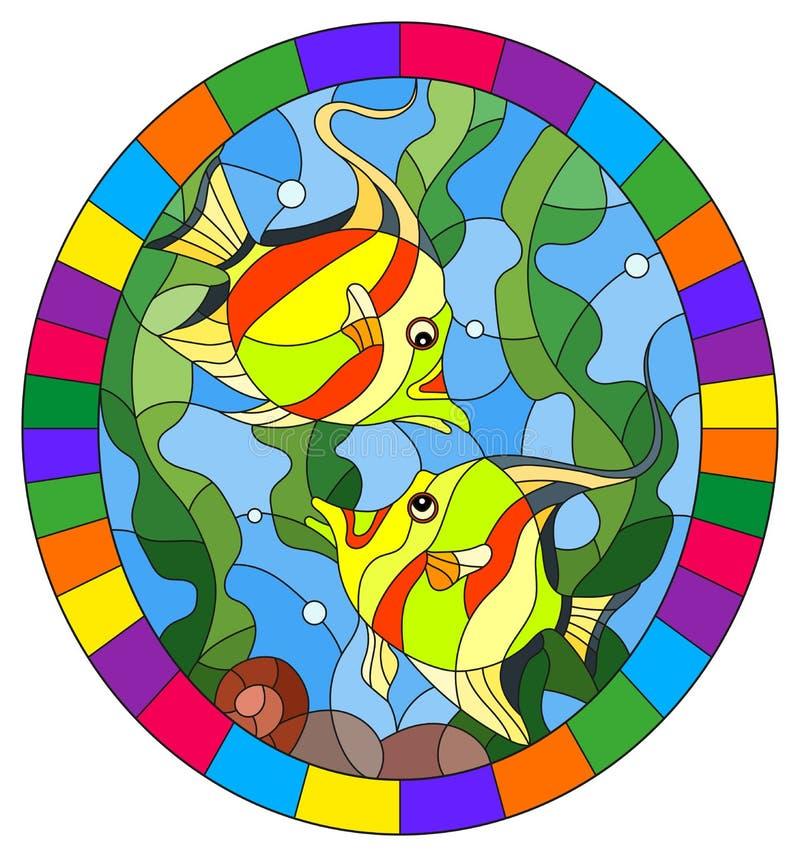 Illustration en verre souillée avec les poissons lumineux d'une paire sur le fond de l'eau et des algues, image ovale dans un cad illustration stock