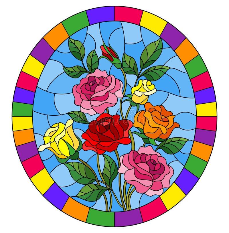 Illustration en verre souillée avec un bouquet des roses sur un fond bleu dans un cadre lumineux, image ovale illustration libre de droits