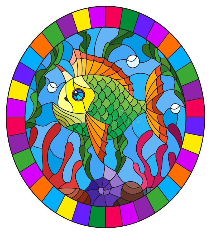 Illustration en verre souillée avec un poisson lumineux sur le fond de l'eau et des algues, image ovale dans un cadre lumineux illustration libre de droits