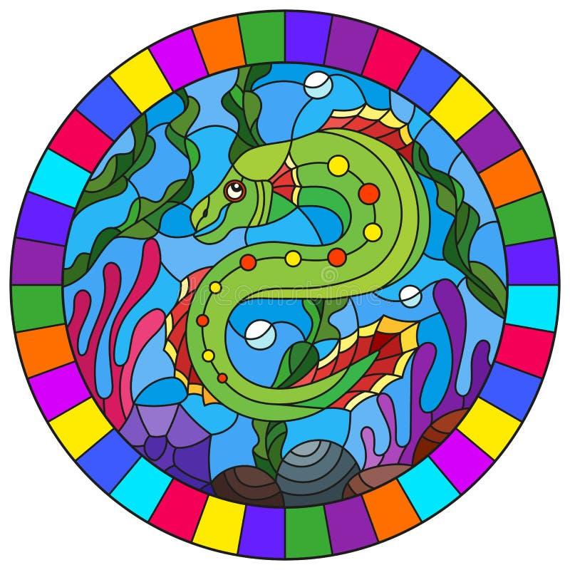 Illustration en verre souillée avec un poisson lumineux sur le fond de l'eau et des algues, image ovale dans un cadre lumineux illustration de vecteur