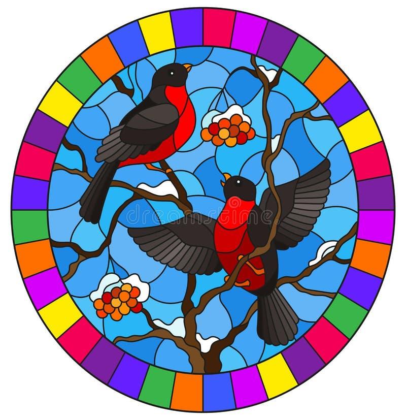Illustration en verre souillée avec une paire de bouvreuils, sur le fond de l'arbre de cendre couvert de neige de montagne, imag illustration libre de droits