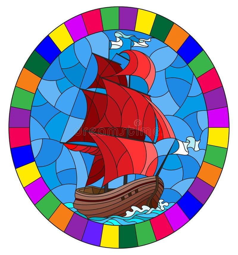 Illustration en verre souillée avec une vieille navigation de bateau avec les voiles rouges contre la mer, image ovale dans un ca illustration libre de droits