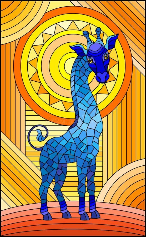 Illustration en verre souillée, girafe bleue sur le fond géométrique orange de résumé avec le soleil illustration de vecteur