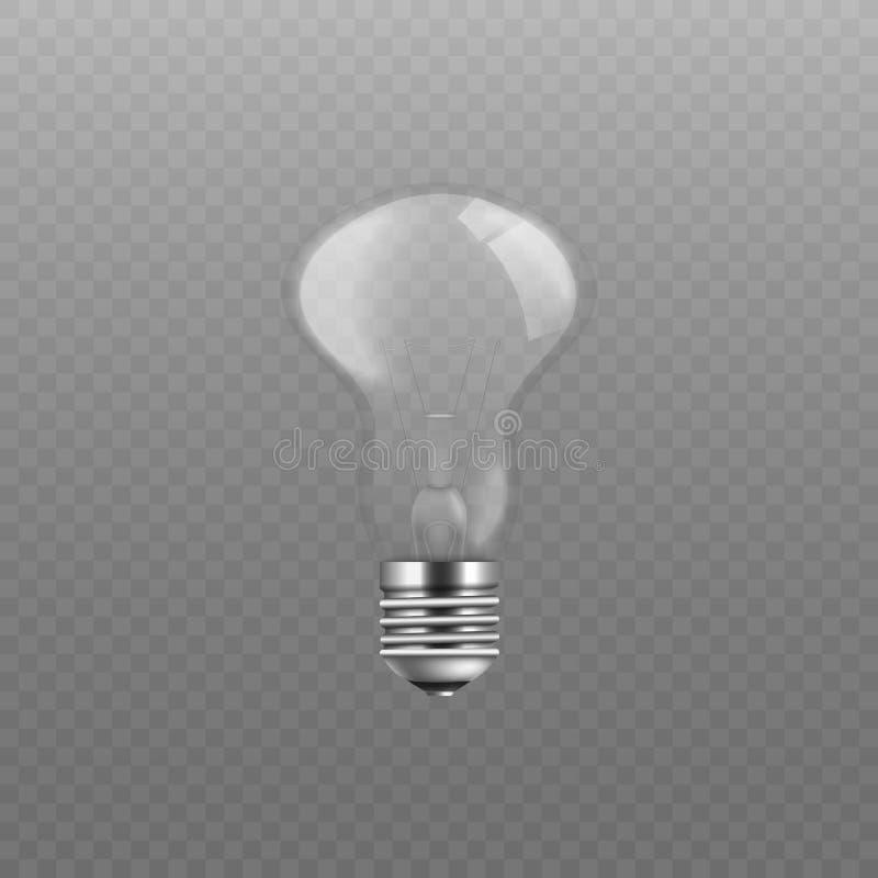 Illustration en verre transparente de vecteur d'ampoule, ampoule brillante de vis sans l'électricité illustration de vecteur