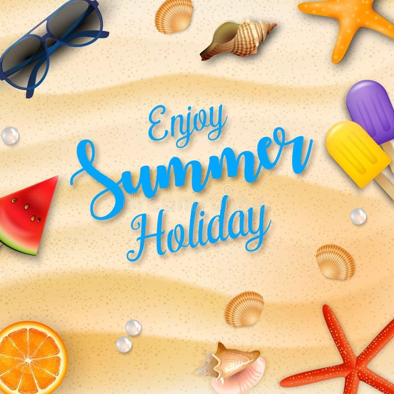 Enjoy summer holidays background and beach elements royalty free illustration