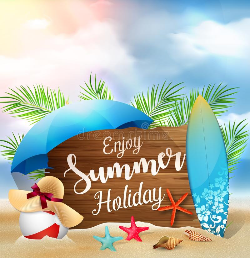 Enjoy summer holidays banner design with a wooden sign for text and beach elements royalty free illustration