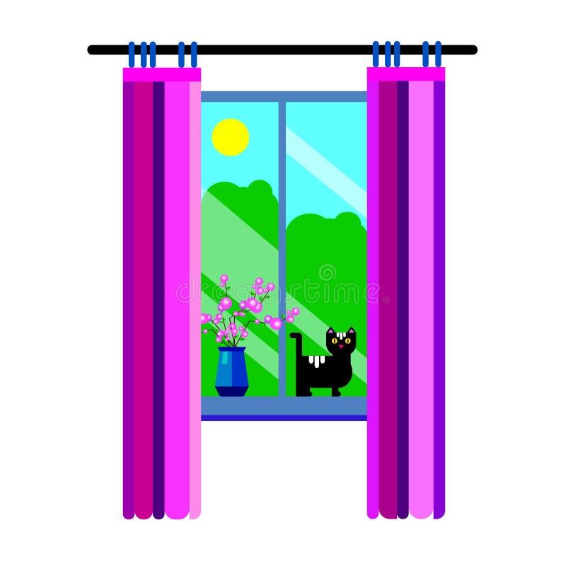 Illustration ensoleillée ensoleillée de ciel de beau fond de matin de jour de vecteur de fenêtre illustration libre de droits