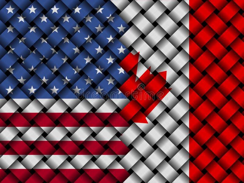 Illustration entrelacée canadienne des drapeaux 3d des Etats-Unis illustration stock
