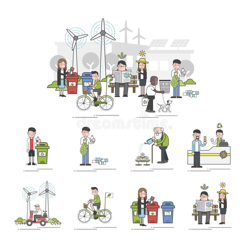 Illustration of environmental concern concept royalty free illustration
