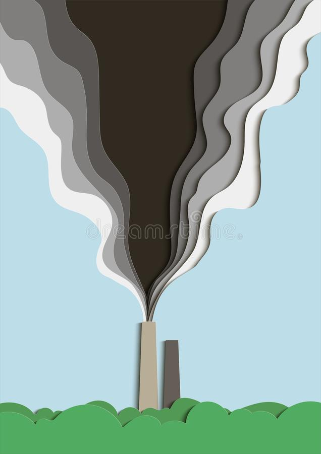Illustration of environmental pollution. Poisoned smoke from a factory pipe pollutes the air. Vector royalty free illustration