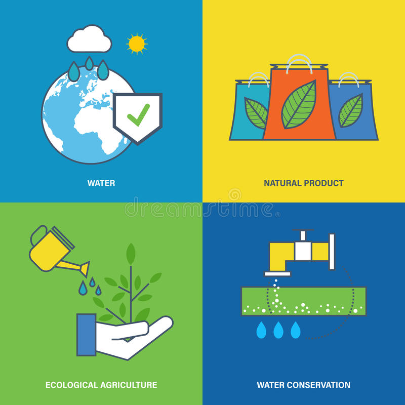 Illustration about environmental protection, preservation of water natural resources. Concept of environmental protection, preservation of natural reserves of stock illustration