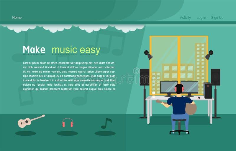 Illustration eps10 de vecteur de calibre de site Web de studio de musique illustration stock