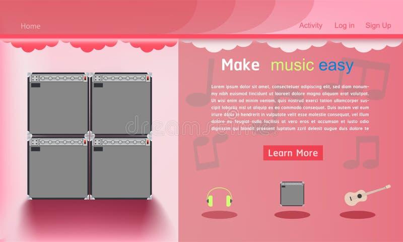 Illustration eps10 de vecteur de fond de pantone de calibre de site Web de studio de musique illustration libre de droits