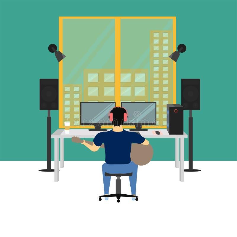 Illustration eps10 de vecteur de pièce de studio de musique illustration de vecteur