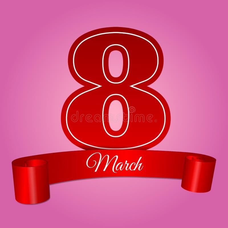 Illustration eps 10 för baner för kvinnadag8 marsch rosa vektor illustrationer