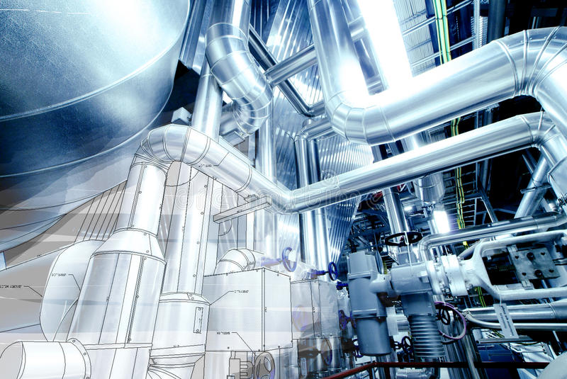 Illustration of Equipment, cables and piping inside power plant. Equipment, cables and piping as found inside of a modern industrial power plant stock illustration