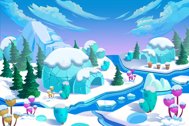 Illustration: The Eskimo Igloo Town. The Bridge, The Ice River, The Ice Mountain, The Ice Flowers, The Green Pine Trees. Realistic Cartoon Style Creative stock illustration