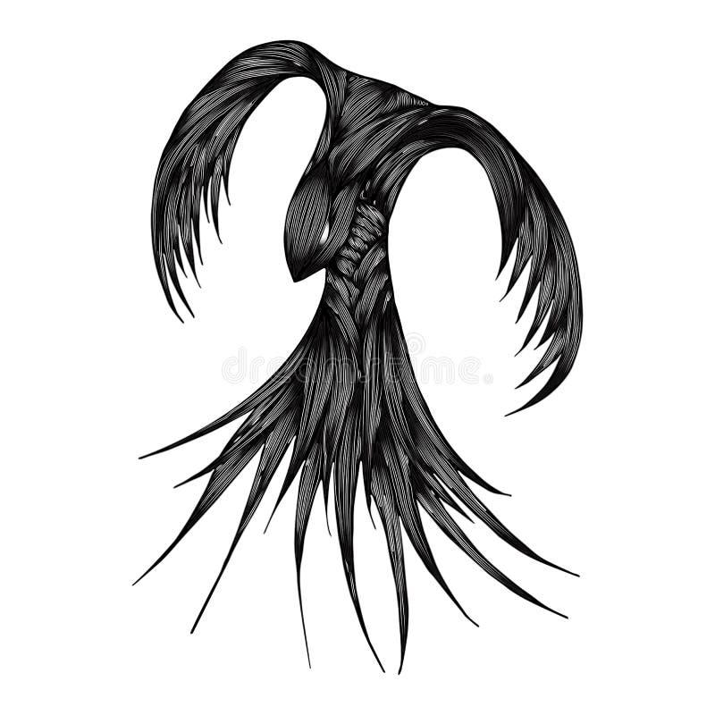 Illustration et conception de personnages d'oiseau du feu de Phoenix Oiseau du feu de Phoenix d'isolement sur le fond blanc Conce illustration libre de droits