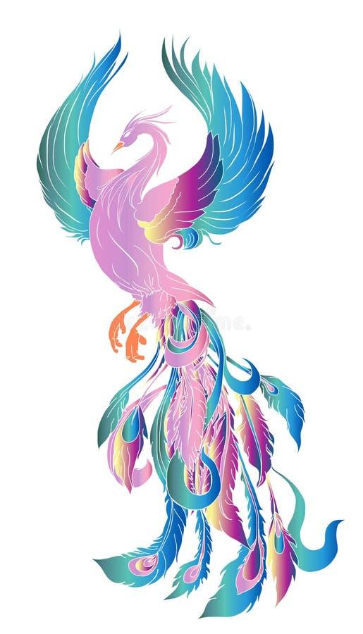 Illustration et conception de personnages d'oiseau du feu de Phoenix Tatouage tiré par la main de Phoenix illustration stock