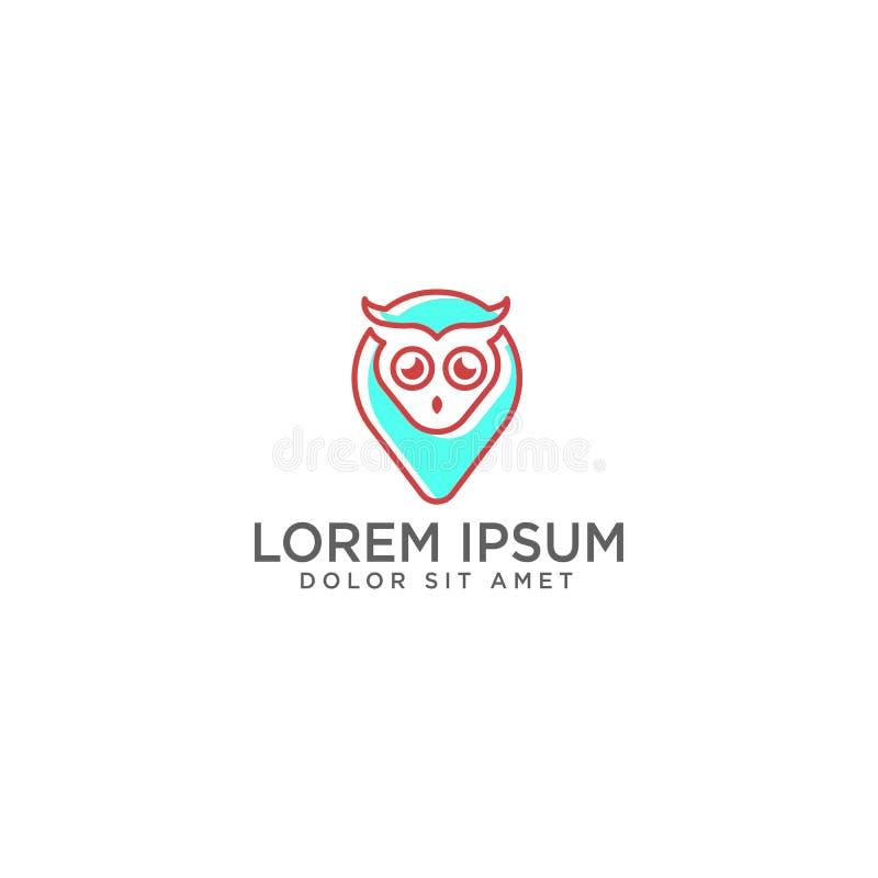 Illustration et inspiration de vecteur de calibre de logo d'Owl Map ou de point illustration stock