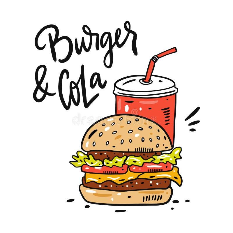 Illustration et lettrage tirés par la main de vecteur d'hamburger et de kola Style de bande dessin?e d'aliments de pr?paration ra illustration libre de droits