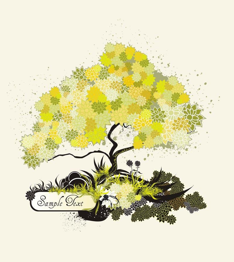 Illustration et médaillon d'arbre illustration libre de droits