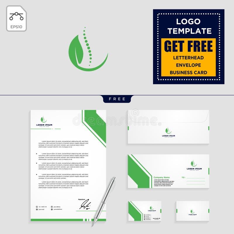illustration et papeterie de vecteur de calibre de logo de feuille de chiropractie illustration stock