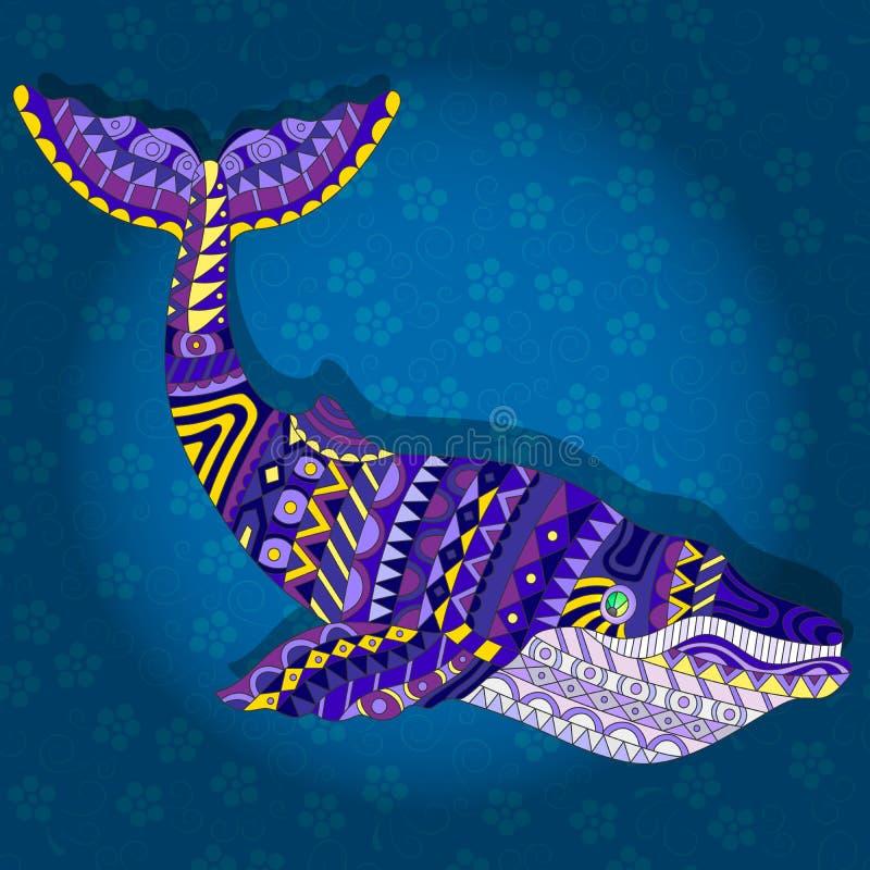 Illustration ethnique abstraite avec la baleine sur un fond floral bleu-foncé illustration stock