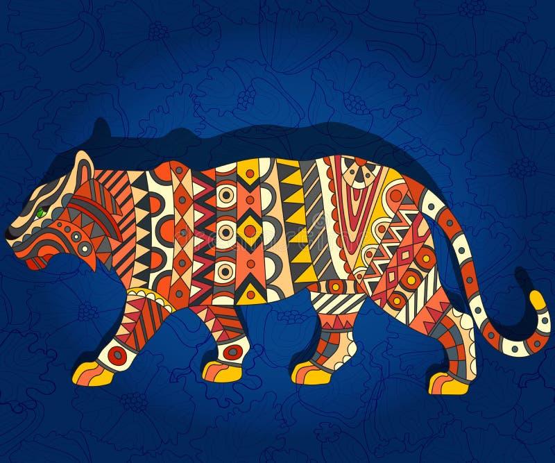 Illustration ethnique abstraite avec le tigre sur un fond floral bleu-foncé illustration libre de droits