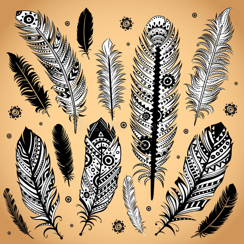 Illustration ethnique de plume de mode illustration libre de droits