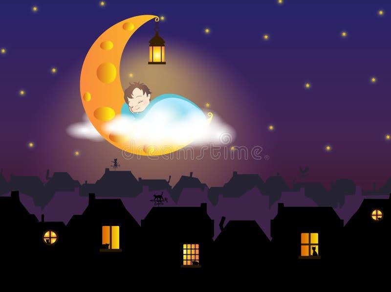 Illustration - ett barn som sover på ostmånen, ovanför staden för saga (gammal europé) royaltyfri illustrationer