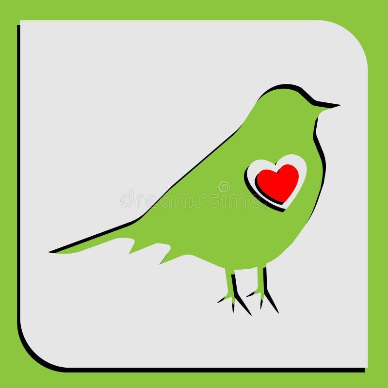 Illustration ett vårkort med en kontur av en fågel med en skugga på en grön bakgrund och en röd hjärtainsida för a vektor illustrationer