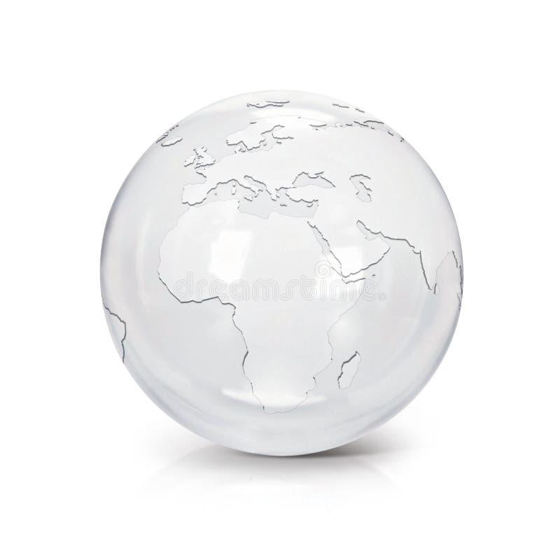 Illustration Europa und Afrika der Klarglaskugel 3D zeichnen auf stock abbildung