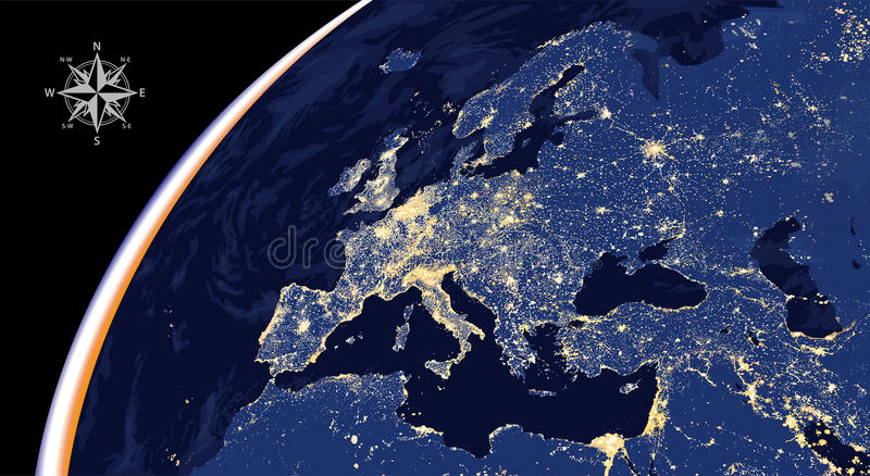 Illustration of Europe city lights map from space stock illustration