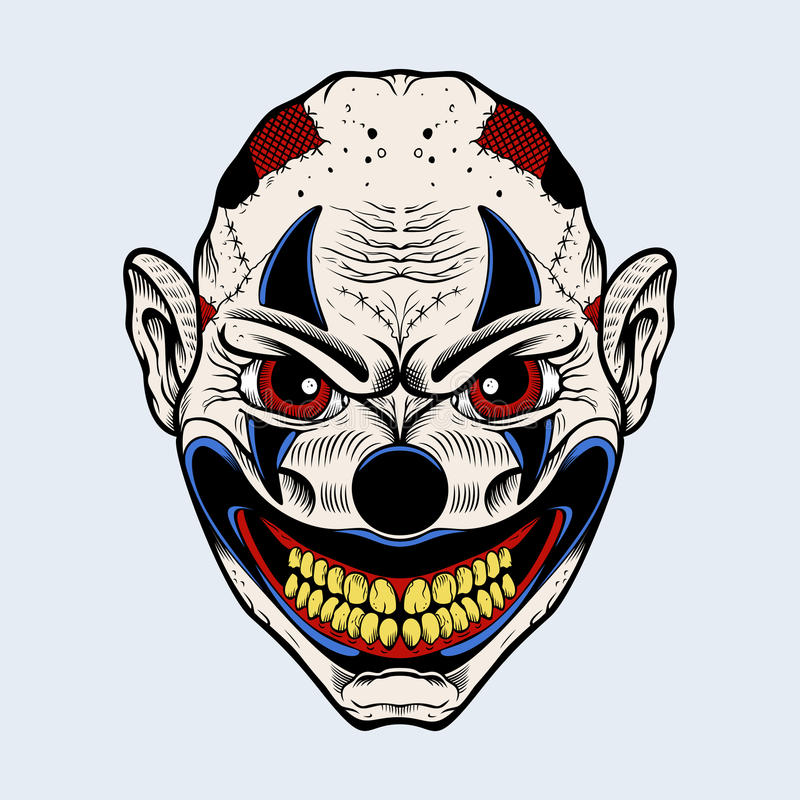 Illustration of evil clown with red eyes royalty free illustration