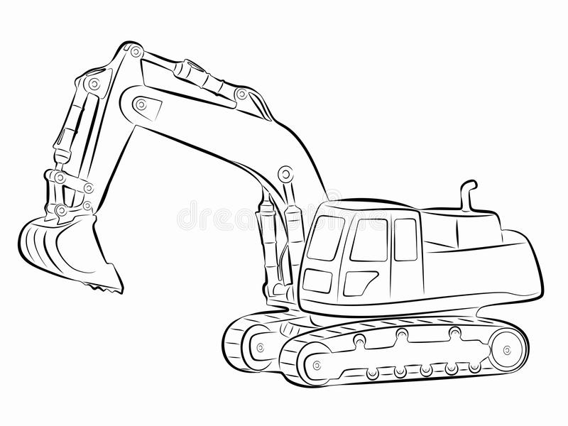 Illustration of a excavator. vector drawing stock illustration