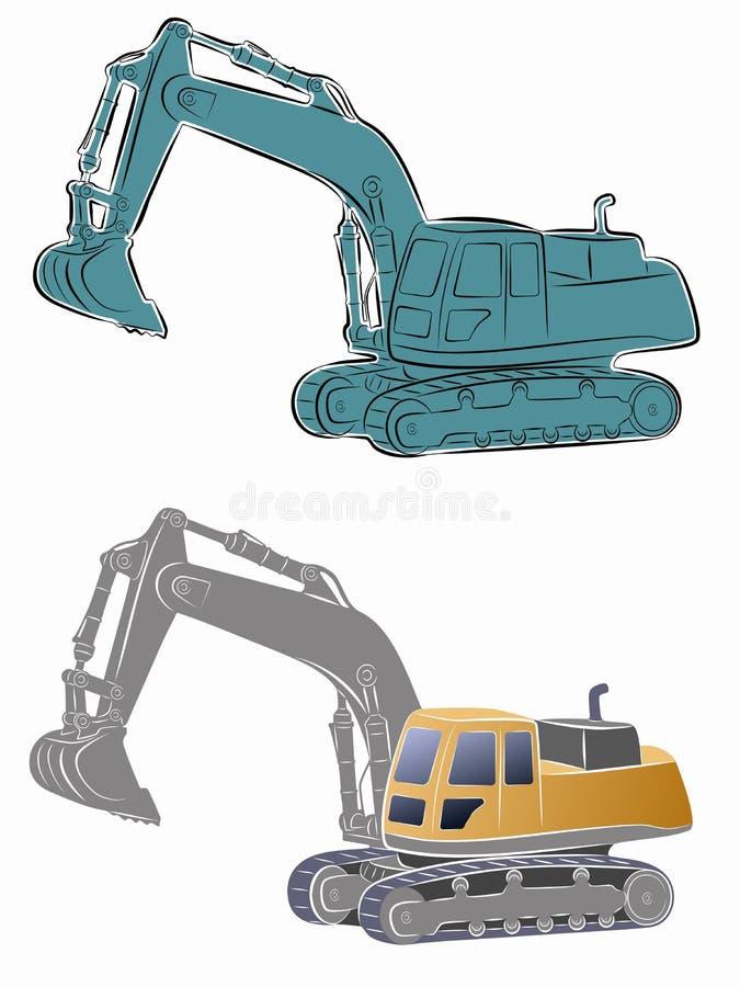 Illustration of a excavator. vector drawing. Illustration of a excavator. color drawing, white background vector illustration