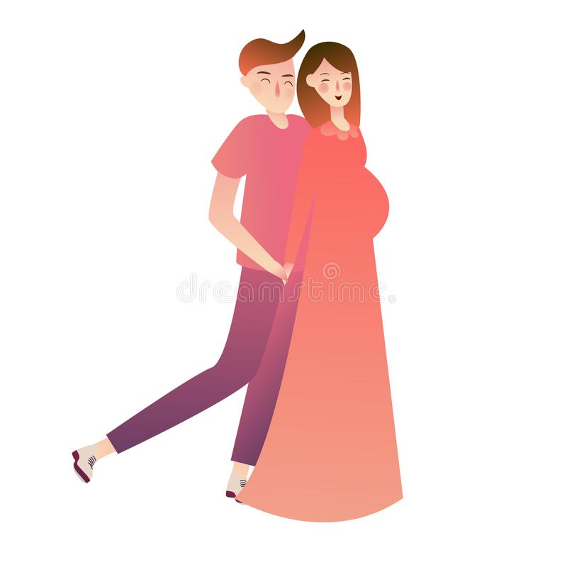 Illustration of Expecting Parents Standing Side by Side. couple with wife pregnant. vector illustration curved gradient. vector illustration